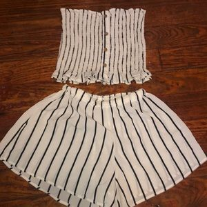 Black and white striped two piece set